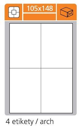 Obrázek Print etikety A4 PLUS pro laserový a inkoustový tisk - 105 x 148 mm (4 etikety / arch)