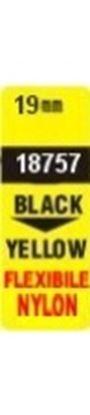 Obrázek Pásky D1 nylonová flexibilní pro elektronické štítkovače DYMO  -  19 mm x 3,5 m černý tisk / žlutá páska