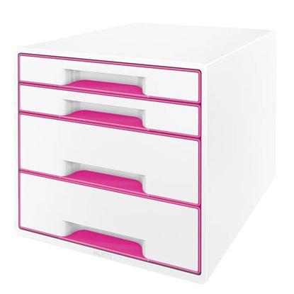 Obrázek Zásuvkový box Leitz WOW -  růžová / 2+2 zásuvky