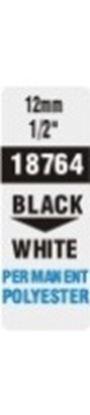 Obrázek Pásky D1 polyesterové permanentní  -  12 mm x 5,5 m / černý tisk / bílá páska