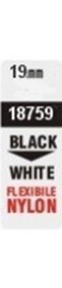 Obrázek Pásky D1 nylonová flexibilní pro elektronické štítkovače DYMO  -  19 mm x  3,5 m černý tisk / bílá páska