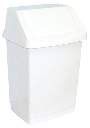 Obrázek Koš na odpadky s víkem - 21 x 37 x 20 cm / bílá / 9 litrů