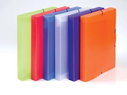 Obrázek Box na spisy A4 s gumou průsvitný Opaline  -  hřbet 3 cm / fialová
