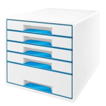 Obrázek Zásuvkový box Leitz WOW -  modrá / 4+1 zásuvky