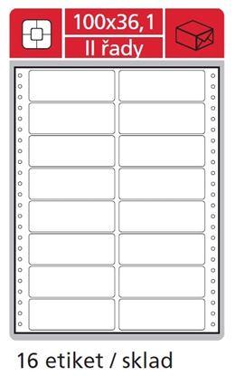 Obrázek Tabelační etikety s vodící drážko dvouřadé - 100 x 36,1 mm dvouřadé 8000 etiket / 500 skladů