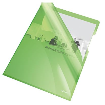 Obrázek Zakládací obal A4 silný barevný - tvar L / zelená 25 ks