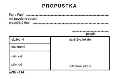 Obrázek Propustky MSK - A7 /100 listů / 214
