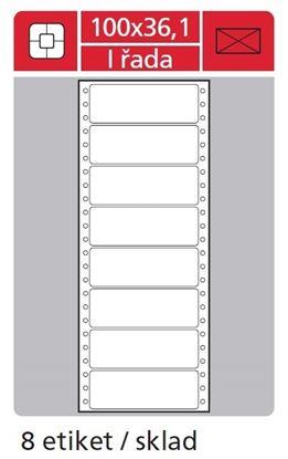 Obrázek Tabelační etikety s vodící drážkou jednořadé a dvouřadé - 100 x 36,1 mm jednořadé 200 etiket / 25 skladů