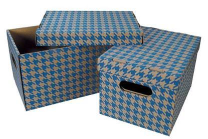 Obrázek Krabice úložná s víkem - modrá / A4 / 30 x 22,5 x 20 cm