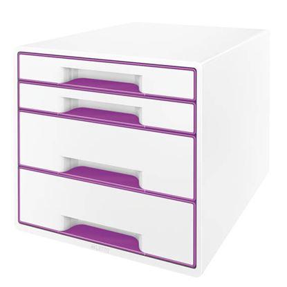 Obrázek Zásuvkový box Leitz WOW -  fialová / 2+2 zásuvky