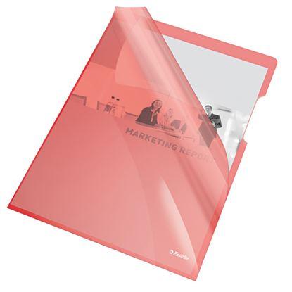 Obrázek Zakládací obal A4 silný barevný - tvar L / červená 25 ks