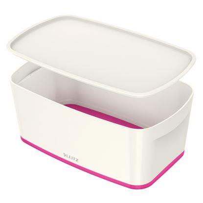 Obrázek Organizační box MyBox - s víkem S / bílo - růžová