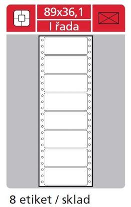Obrázek Tabelační etikety s vodící drážkou jednořadé - 89 x 36,1 mm jednořadé 4000 etiket / 500 skladů