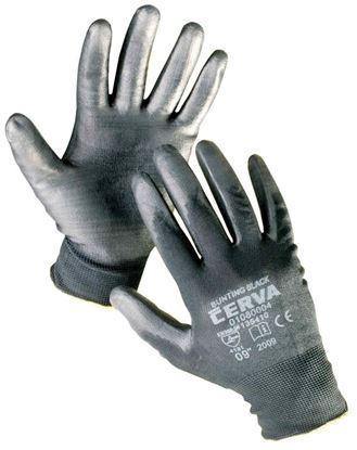 Obrázek Ochranné rukavice bezešvé - BUNTING / černé / vel.9