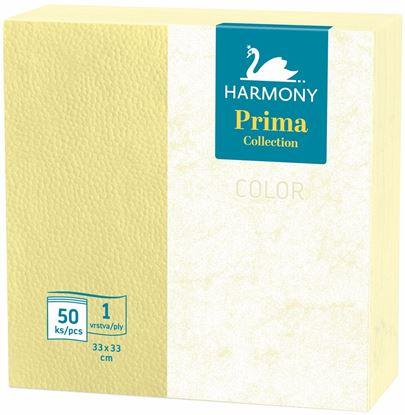 Obrázek Ubrousky papírové barevné Harmony Color - 33 cm x 33 cm / žlutá / 50 ks