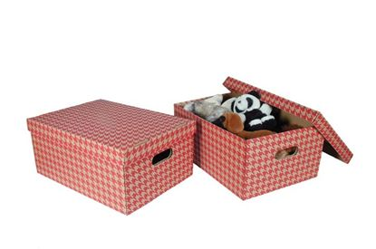 Obrázek Krabice úložná s víkem - červená / A3 / 44 x 32 x 20 cm