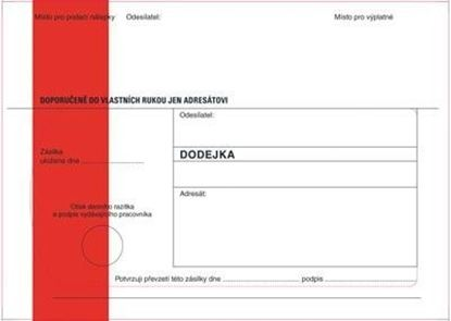 Obrázek Obálky B6 s dodejkou samopropisovací - s červeným pruhem / 1000 ks