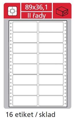 Obrázek Tabelační etikety s vodící drážkou dvouřadé - 89 x 36,1 mm dvouřadé 8000 etiket / 500 skladů