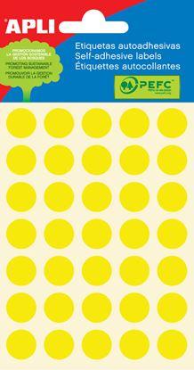Obrázek Samolepicí kolečka APLI barevná - ? 13 mm / 175 etiket / žlutá