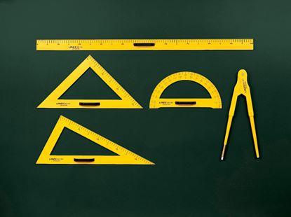 Obrázek Rýsovací potřeby na školní tabuli LINEX - sada / 5 ks