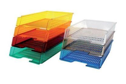 Obrázek Kancelářský box na spisy Office transparentní - modrá / transparentní