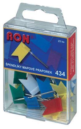 Obrázek Špendlíky mapové RON - vlaječky / 25 ks / barevný mix
