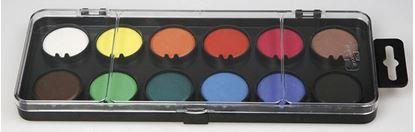 Obrázek Vodové barvy - 12 barev / průměr 30 mm