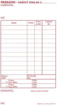 Obrázek Paragon daňový doklad - blok 80 x 150 mm / nečíslovaný 50 listů / NCR / PT010