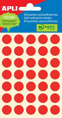 Obrázek Samolepicí kolečka APLI barevná - ? 13 mm / 175 etiket / červená