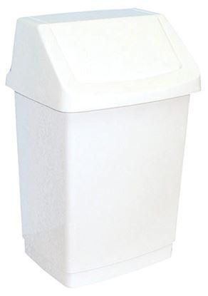 Obrázek Koš na odpadky s víkem - 38,5 x 63,5 x 33,5 cm / bílá / 50 litrů