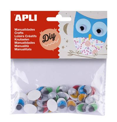 Obrázek Samolepicí očíčka APLI barevná / 40 ks