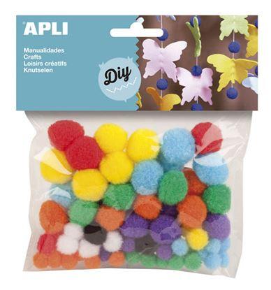 Obrázek Doplňky APLI - kuličky POM POM barevné / 78 ks