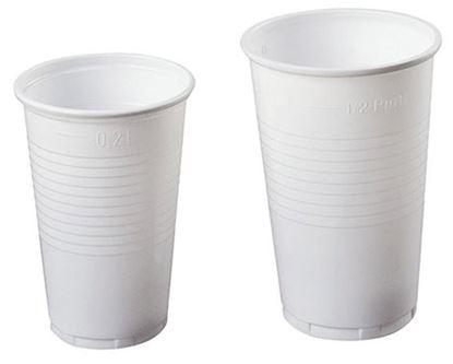 Obrázek Kelímky plastové - bílé / 3 dcl / 100 ks