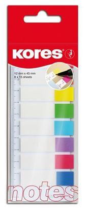Obrázek Samolepící záložky Kores Index Strips - 8 x 25 lístků / barevné