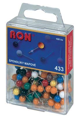 Obrázek Špendlíky mapové RON - kuličky / 100 ks / barevný mix