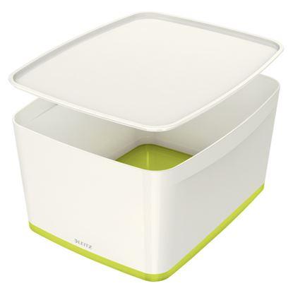 Obrázek Organizační box MyBox - s víkem L / bílo - zelená