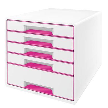 Obrázek Zásuvkový box Leitz WOW -  růžová / 4+1 zásuvky