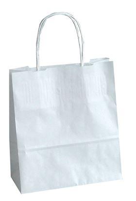 Obrázek Tašky papírové kroucená ucha - bílá / 180 x 80 x 250 mm
