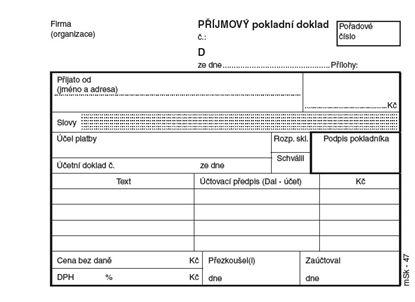 Obrázek MSK 47 příjmový pokladní doklad číslovaný + stvrzenka 2 x 50 listů NCR A6