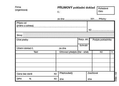 Obrázek Příjmový pokladní doklad MSK - A6 / nečíslovaný + stvrzenka 2 x 50 listů NCR / 53