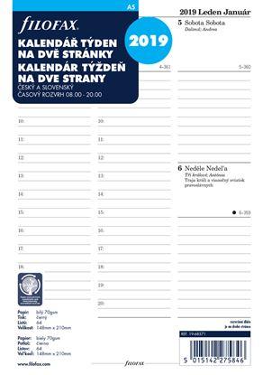 Obrázek Náhradní vložky do diářů Filofax - kalendář A5 2020 týden / 2 strany