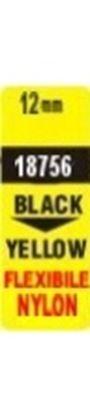 Obrázek Pásky D1 nylonová flexibilní pro elektronické štítkovače DYMO  -  12 mm x 3,5 m černý tisk / žlutá páska