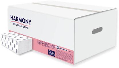 Obrázek Ručníky papírové skládané Harmony - ručníky bílé / dvouvrstvé / 150 ks
