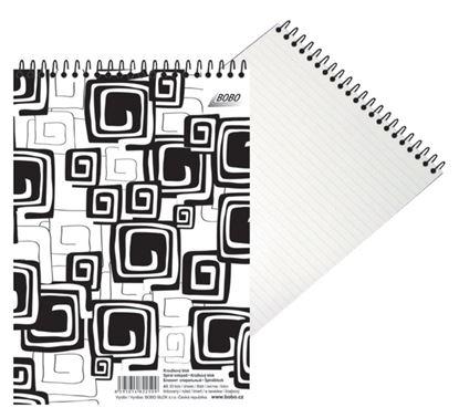 Obrázek Blok BOBO Black & White se spirálou - A4 / linka / horní spirála
