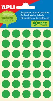 Obrázek Samolepicí kolečka APLI barevná - ? 13 mm / 175 etiket / zelená
