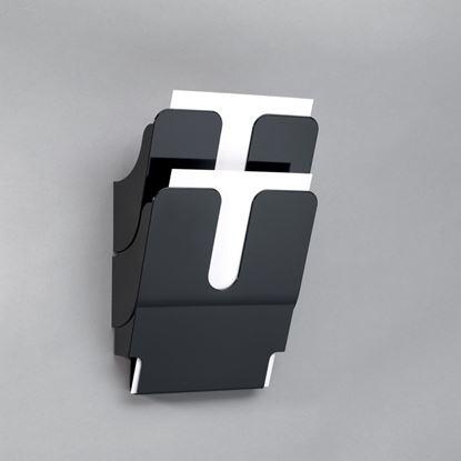Obrázek Držáky na prospekty Durable -  Flexiplus 2 / A4 černý / na výšku