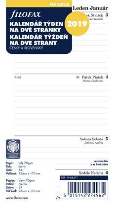 Obrázek Náhradní vložky do diářů Filofax - kalendář osobní 2020 týden / 2 strany