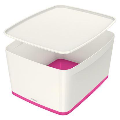 Obrázek Organizační box MyBox - s víkem L / bílo - růžová