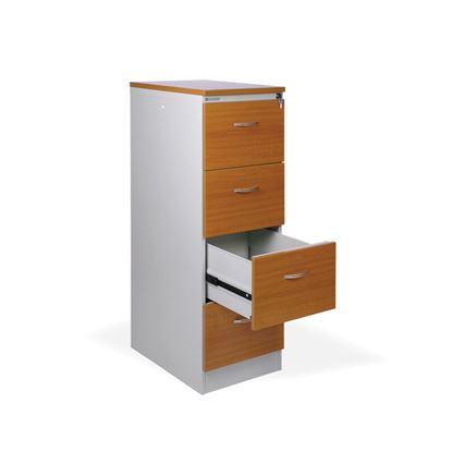 Obrázek Kartotéky kovové / čelo ze dřeva - RGD 14 CE / 4 zásuvky