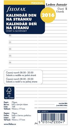 Obrázek Náhradní vložky do diářů Filofax - kalendář osobní 2020 denní